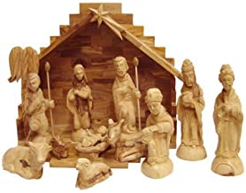 Holy Land Market Olive Wood Nativity Set with Stable. Deluxe (15 Piece Set)