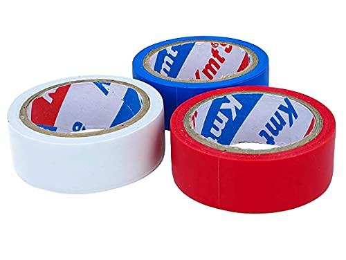 LEDLUX Kit de 3 rollos de cinta aislante eléctrica de PVC, 19...