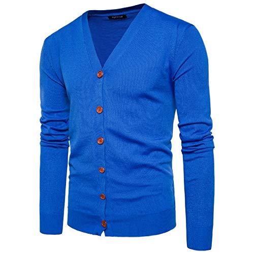 Suéter de un Solo Pecho con Cuello en V para Hombre Color sólido Slim Fit Moda Todo-fósforo Streetwear Chaqueta de Punto Informal Europa y América XL