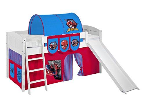 Lilokids Spielbett IDA 4106 Spiderman - Teilbares Systemhochbett weiß - mit Rutsche und Vorhang