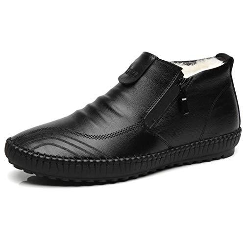 Liyuzhu Fahren Loafers for Männer Gehen Ziehen Schuhe auf Stil-Seiten-Reißverschluss-echtes Leder Super Soft Vegan Flach Wärme Anti Slip mit Fleece-Futter Schuhe (Color : Schwarz, Größe : 38 EU)