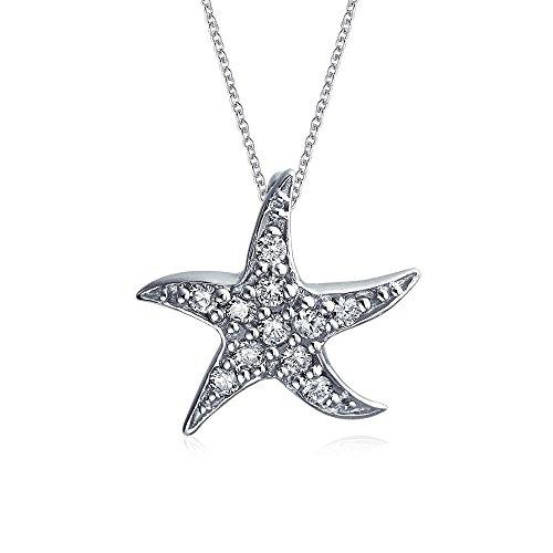 Bling Jewelry Nautisch Strand Seestern Anhänger Mit Halskette Für Damen Tanzen Leben Meer Pave Zirkonia 925 Silber 16 Zoll Kette