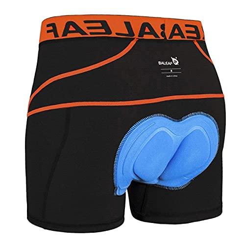 BALEAF Herren Fahrradhose Kurz Gepolstert Atmungsaktive Fahrradunterhose Coolmax 4D Gel Sitzpolster Orange M