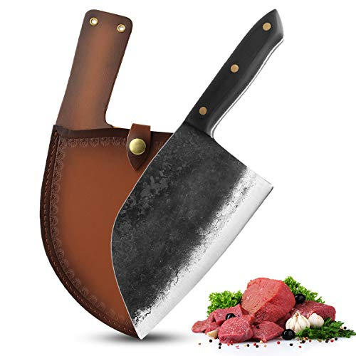 Meat Cleaver Knife - 6.5 inch Professional Butcher Knife High Carbon Steel Sharp Cleaver Knife Handmade Forged Kitchen Knife with Leather Sheath