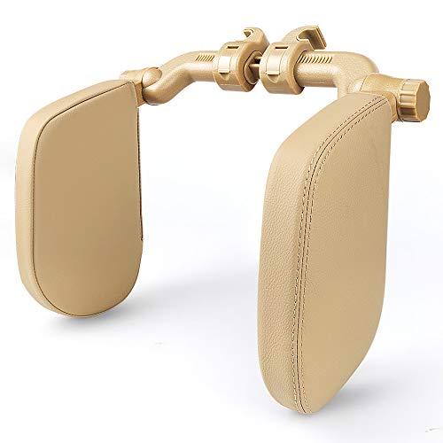 EASY EAGLE Kopfstütze Autositze mit Teleskopstange und Schiebebaren Clips, Seitliches Kopfstützkissen aus Leder für Kinder Erwachsene, Beige