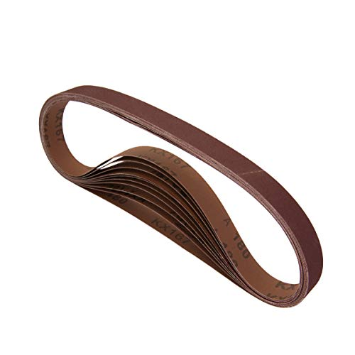 POWERTEC 111370 1 x 30 Inch Sanding Belts | 400 Grit Aluminum Oxide Sanding Belt | Premium Sandpaper – 10 Pack