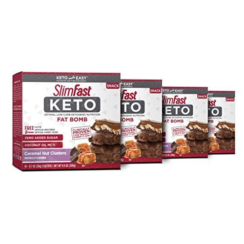 SlimFast Keto Fat Bomb Snacks, Chocolate Caramel Nut Clusters, 14 Count Box, Pack of 4