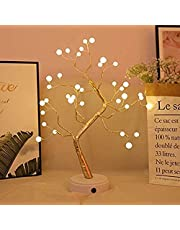 AMERTEER USB Pearl Decorative Led Shimmer Tree Desk Lamp Touch Switch Led Light for Home Bedroom Indoor Wedding Party Decoration