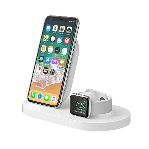Belkin Boost Up - Base de carga inalámbrica para iPhone + Apple Watch + puerto USB-A (estación dock para iPhone/cargador inalámbrico para iPhone 11, 11 Pro/Pro Max, XS/XS Max, Apple Watch 4, 3, 2 y 1)