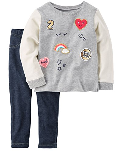 Carter's Baby Girls' 2 Pc Playwear Sets, Patches Denim, 18 Months