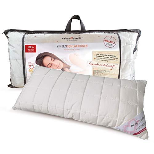 Zirben Familie - bekannt aus dem Fachhandel & der Hotellerie • Großes Zirbenkissen • Weiches Schlafkissen 40x80cm • Kissen gefüllt mit natürlichen Zirbenflocken
