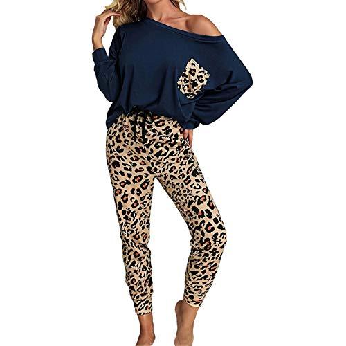 Conjunto de Pijamas para Mujer, Casual for mujer Casual 2 piezas jogger traje a juego con estampados de leopardo de manga larga de la manga larga junto al hombro Tops Tops Pantalones Sweatsuits Tritsu