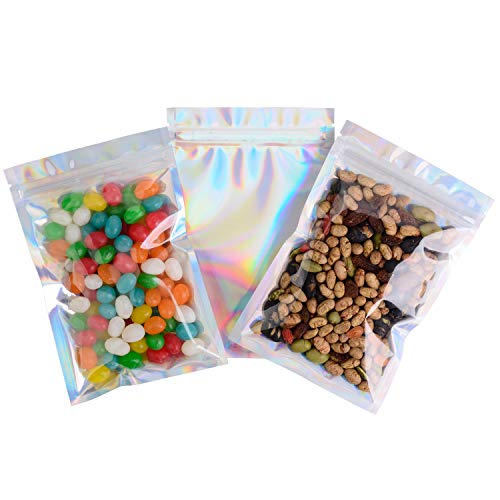 """100 Pack Smell Proof Bags - Various Size Reclosable Mylar Bags Resealable Clear Ziplock Holographic Rainbow Color (Holographic Rainbow, 10x15cm (4""""x6""""))"""