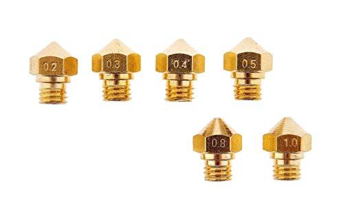 3D Printer M7 Thread MK10 Nozzles for 1.75MM Filament .2mm .3mm .4mm .5mm .8mm 1.0mm (1 Each) Wanhao Dupicator D4/I3 Makerbot 2