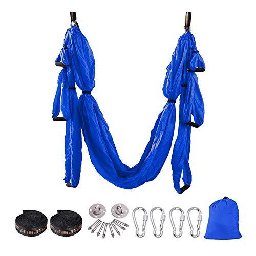 WSXEDC Conjunto de Swing de Yoga aérea, Hamaca de Yoga colgada de Techo de antigravedad, for Principiantes, niños o Cualquier Nivel de Ejercicios de inversión de Yogi Volando (Azul) Cinta de Yoga