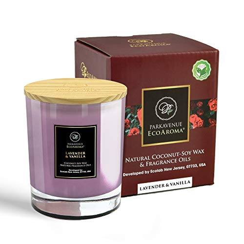 EcoAroma Lavender & Vanilla Luxury Scented Coco-Soy Jar Candles Organic Aromatherapy Candles Highly Scented Home Decorative Fragrance Gifts Hand Poured 2 Wicks 8 Oz