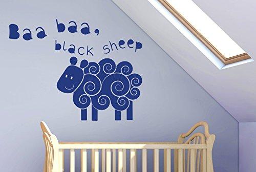 CUT IT OUT Baa Baa Black Sheep Nursery Rhyme Wall Sticker Art Aufkleber–Groß (Höhe 57cm x Breite 75cm) dunkelblau