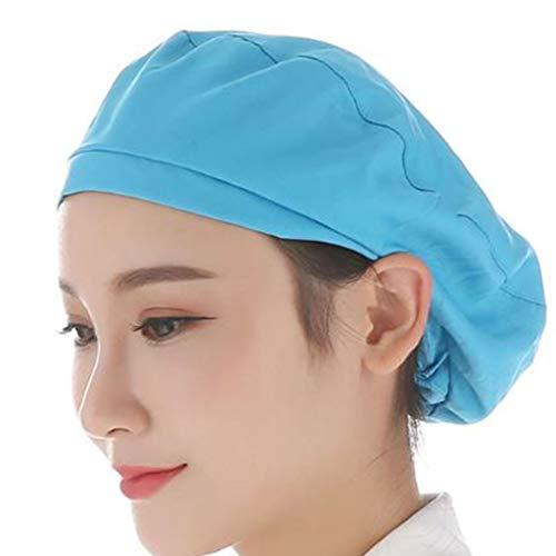VIccoo Chef Cap, Unisex staubdichte, atmungsaktive Küchenchef-Mütze Elastic Factory Work Cap Hair Cover - Blau