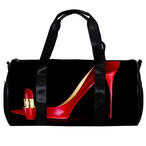 Bolsa de deporte redonda con correa de hombro desmontable, color rojo, zapato grande y lápiz labial, bolsa de entrenamiento para mujeres y hombres