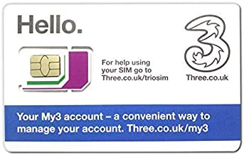 Three UK Prepaid Europe SIM 12GB Data +3000 Min Talk +3000 Texts for 30 Days with Free Roaming in Europe Countries