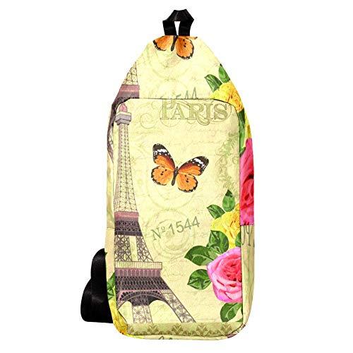 EZIOLY Paris Postkarten-Schulterrucksack, Umhängetasche, Reisetasche, Wandern, Tagesrucksack für Männer und Frauen