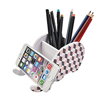 FOCCTS Elephant Pen Pencil Holder with Phone Stand Funny Pencil Holder Cute Elephant Office Accessories Tablet Desk Bracket Compatible with iPhone iPad Smartphone Desk Decoration Lattice Shape