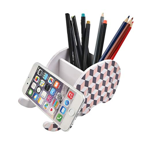 FOCCTS Elephant Pen Pencil Holder with Phone Stand, Funny Pencil Holder Cute Elephant Office Accessories Tablet Desk Bracket Compatible with iPhone iPad Smartphone, Desk Decoration(Lattice Shape)