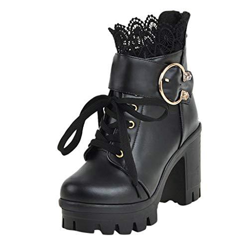 yazidan🌿 Damen Klassischer Leder Knöchel Stiefel Boots Winter Gefüttert Stiefeletten Frauen Herbst Round Toe Lace Up Knöchel Schnalle Chunky High Heel Plattform Knight Stiefel Freizeitschuhe