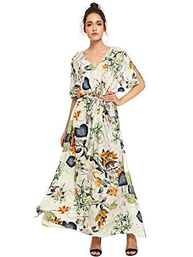 Milumia Women's Boho Tie Waist Split Vintage Floral Print Summer Long Maxi Dress Beige and Grey XX-Large