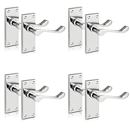 XFORT® Lever Latch Scroll Polished Chrome Door Handles, Elegant Door Handle Set for Wooden Doors, Classic Victorian Straight Design, Ideal for All Types of Internal Doors [4 Pair].
