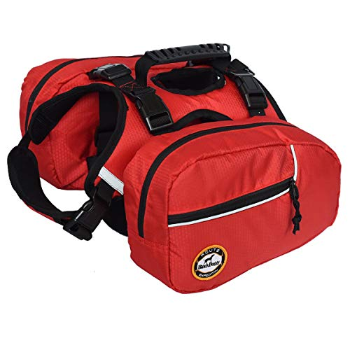smartelf Dog Detachable Backpack Hound Saddlebag for Service Dog Travel Camping Hiking Training,Rucksack with 2 Removable Bags for Carrying Poop Bags and a Small First Aid Bag for Large Breeds-M