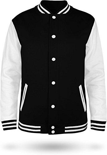 normani Kinder College Jacke für Jungen und Mädchen mit Ärmeln in Kontrastfarben Farbe Black/White Größe 11-13 (152)
