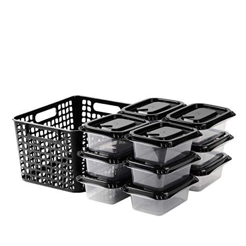 【BLKP】 パール金属 日本製 保存容器 限定 ブラック Mサイズ 12個組 長方形 収納ケース付 BLKP 黒 AZ-5047