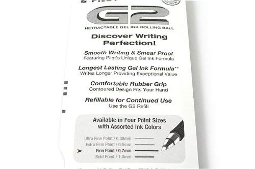 Pilot G2 Retractable Rolling Ball Gel Pens, 2-Pack