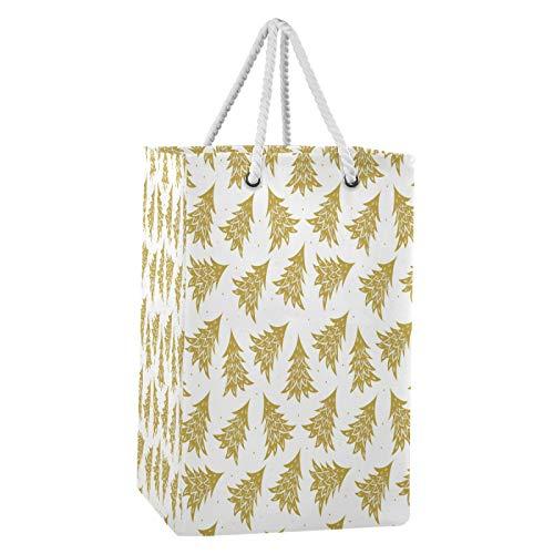 Blueangle - Cesta para ropa sucia, diseño de árboles de Navidad, color dorado