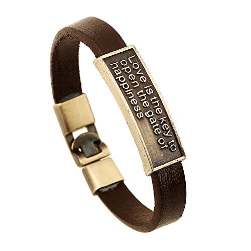 MSTOT De liefde is de sleutel van de deur tot geluk. Leren armband.