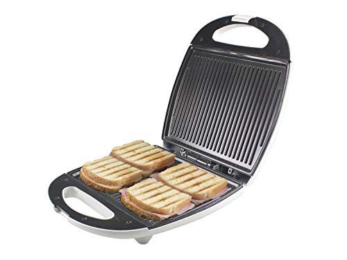 Beper Maxi Toast&Grill - Tostiera 4 Fette Grill, Sruttura esterna in bachelite, Piastre grill Maxi antiaderenti di 28 x 21cm, 1300 W, Bianco