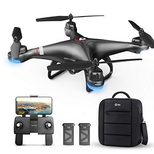 Holy Stone ドローン GPS搭載 200g未満 収納ケース付き カメラ付き 飛行時間25分 1080P 広角110° 2.4GHz 高度維持 紛失の機体を探す機能 WiFiリアタイム リターンモード フォローミーモード ヘッドレスモード モード1/2自由転換 HS110G