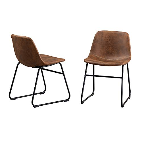 OGEFER Upholstered Dining Chairs Leather Set of 2 Mid Century Modern Chairs Living Room Chair Side Chair Ergonomic Design with Metal Legs for Kitchen Dining Room Bedroom, Brown