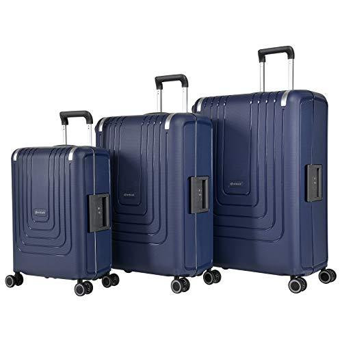 Eminent Koffer-Set Vertica 3-teilig (1xHandgepäck + Koffer M&L) Hartschalenkoffer 4 leise Doppelrollen Blau