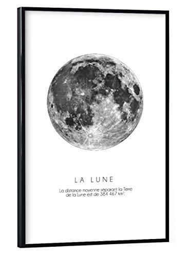 artboxONE Poster mit schwarzem Rahmen 30x20 cm Mond Galaxy The Moon - Bild Moon Lune la Lune