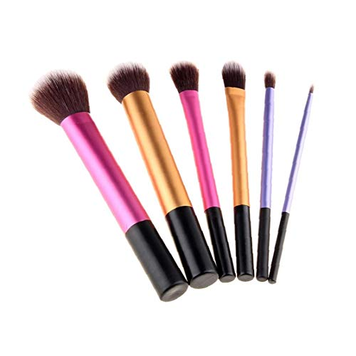 6pcs Maquillage Durable Pinceaux Poignée En Plastique Pinceau À Poudre Professional Aluminum Pipe Cosmétiques Lisse Brosse Pour Yeux Visage 3 Couleur