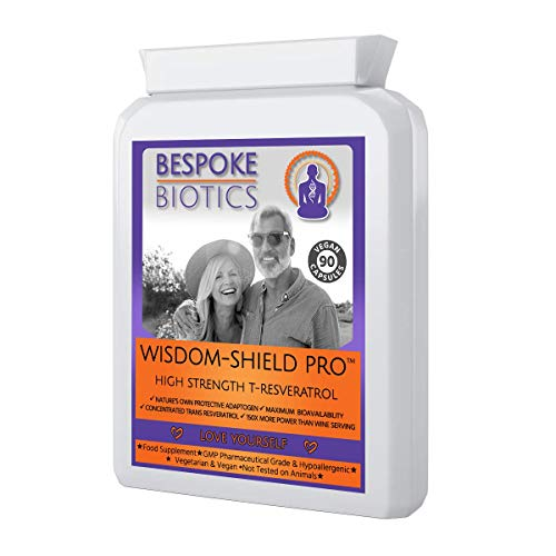 Wisdom-Shield 40+ Ultra High Strength T-Resveratrol Supplement - 90 Capsules | Anti-Ageing| Neuroprotective | Cell Protection| UK | Blood Pressure