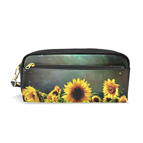 Pencil Bag Pen Case Pouch Moonlight Sunflower Field Makeup Cosmetic for Girls Boys Travel School