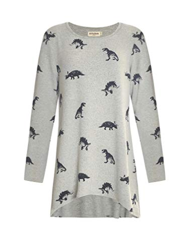LaVieLente Women's Graphic Print Long Sleeve Tunic Tops Soft Stretchy Hi-Lo Hem Loose Fitting for Leggings (Dinosaur_2, Large)