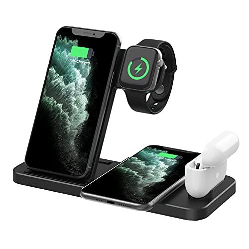 XMH Cargador Inalámbrico, Estación De Carga Inalámbrica Rápida 4 En 1 para iPhone Samsung, Teléfonos Android, Soporte De Carga para Apple Watch SE,Blanco