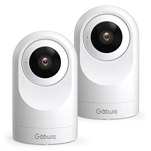 Telecamera Wi-Fi Interno, Goowls 1080P 2 Pack Videocamera Sorveglianza IP WiFi per Bambini/Animali Monitor con Visione Notturna, Rotazione a 360°, Audio Bidirezionale Compatibile con Alexa