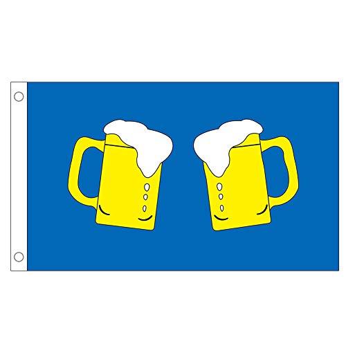 QSUM Bierkrug Flagge - 3 x 5 Fuß Bar Bier 100% Polyester Material Flagge Banner Ideal für Pub Club Festival Business Party Dekoration (90 x 150 cm)