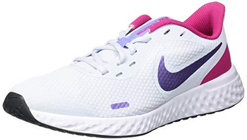 Nike Revolution 5 (GS), Running Shoe, Football Grey/Purple Pulse-Fireberry-White, 35.5 EU