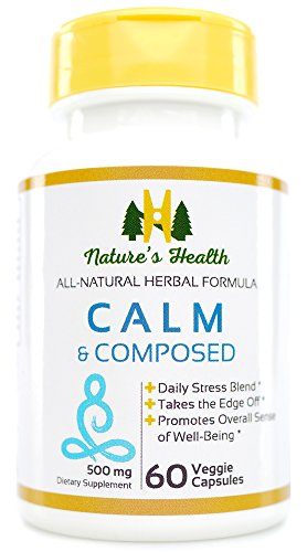 Calm & Composed, Passion Flower with Valerian Root, Daily Stress Supplement, Relax and Unwind, Good Night's Sleep, 1000 MG Per Serving, 60 Veggie Capsules, Nature's Health